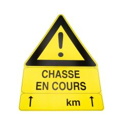 PANNEAU CHASSE EN COURS  AKY TRIANGULAIRE 100X70